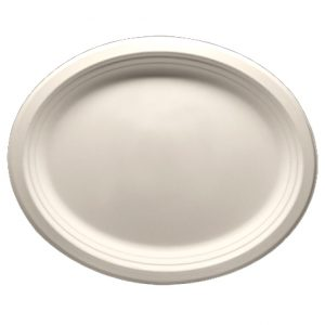 """12.5"""" x 10"""" Bagasse Oval Platter"""